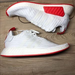 Adidas boost nmd r2 prime knit running white red